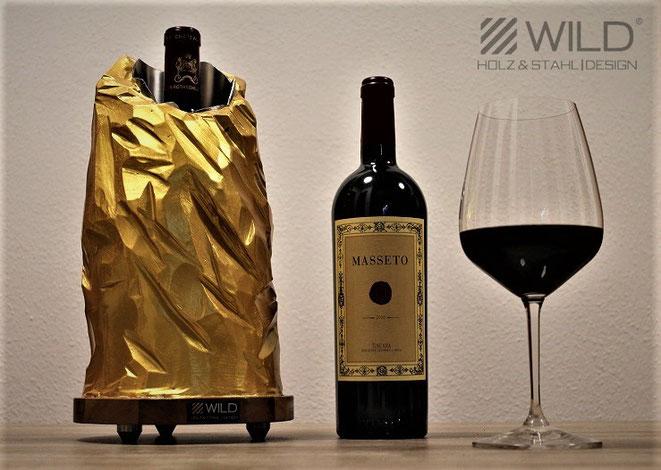 Hochwertiger Weinkühler aus Stein, Beton und Edelstahl