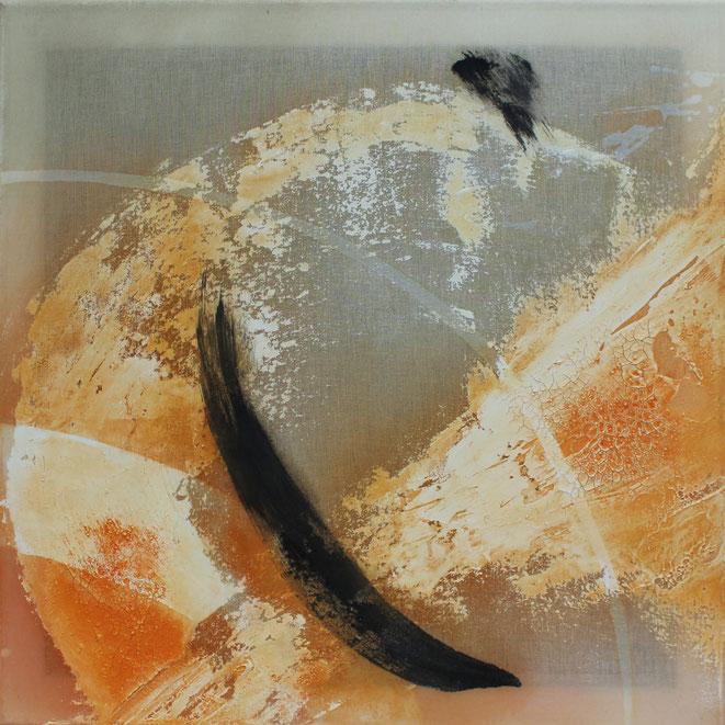 50 x 50 cm, Marmormehl, Buchbinderleim, Tusche, Öl, Pigmente