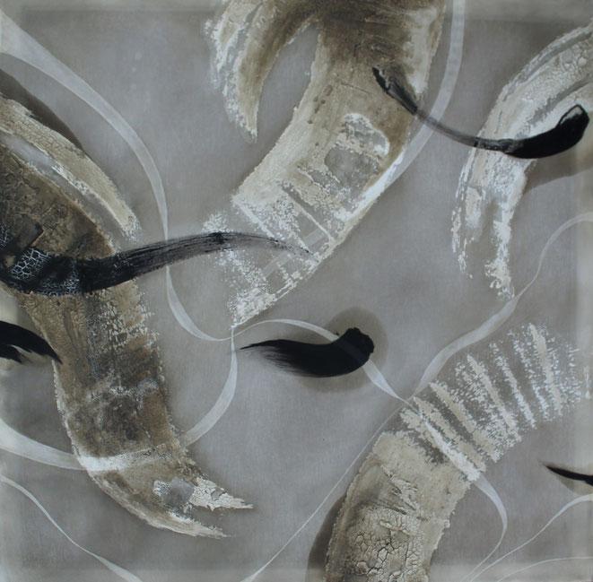 120 x 120 cm, Marmormehl, Buchbinderleim, Tusche, Öl, Pigmente