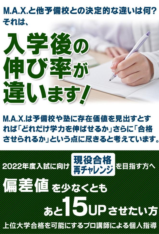M.A.X.と大予備校との決定的な違いは何? それは入学後の伸び率が違います。 M.A.X.は予備校や塾に存在価値を見出すとすれば どれだけ学力を伸ばせるか、さらに合格させられるかという点に 尽きると考えています。 2022年度入試に向け現役合格・再チャレンジを目指す方へ。 偏差値を少なくともあと15アップさせたい方。上位大学合格を可能にするプロ講師による個人指導