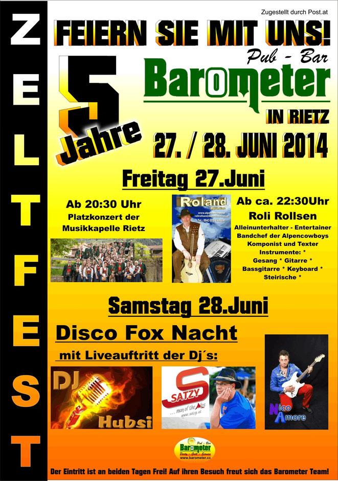 Jubiläums Zeltfest 5 Jahre Barometer Rietz Essen Trinken Tanzen Mexikanisch Burger