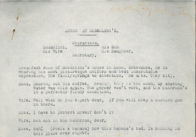 """La sceneggiatura teatrale """"Lunch at Mussolini's"""" scritta da un giovanissimo Thomas"""