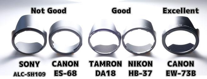 Lens hood inner reflection comparison