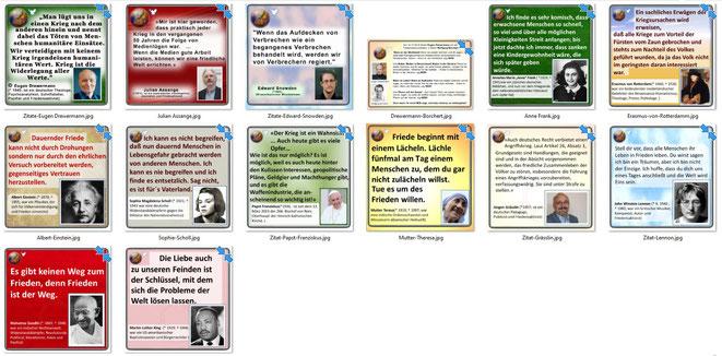 Friedenszitate von Eugen Drewermann, Julian Assange, Edward Snowden, Anne Frank, Erasmus von Rotterdam, Albert Einstein, Sophie Scholl, Papst Franziskus, Mutter Theresa, Jürgen Grässlin, John Lennon, Mahatma Gandhi, Martin Luther King