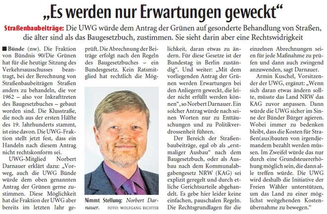 Mit freundlicher Genehmigung der Neuen Westfälischen (Artikel vom 18.01.2019)