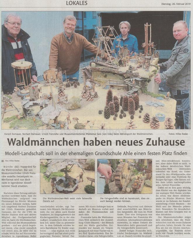 Mit freundlicher Genehmigung der Bünder Zeitung (Artikel vom 26.02.2019)