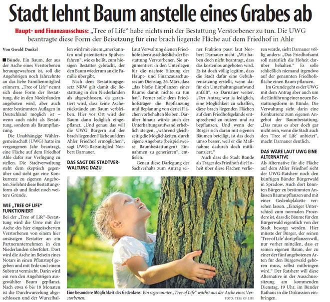 Mit freundlicher Genehmigung der Bünder Zeitung (Artikel vom 17.04.2019)
