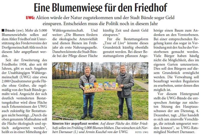 Mit freundlicher Genehmigung der Neuen Westfälischen (Artikel vom 21.12.2018)