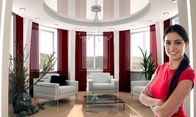 Spanndecke glänzend weiß Wohnzimmer CreoHeimDesign