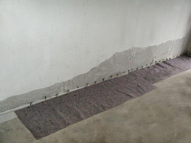 Abdichtung der Arbeitsfuge am Boden- Wandanschluss mittels Rissverpressung