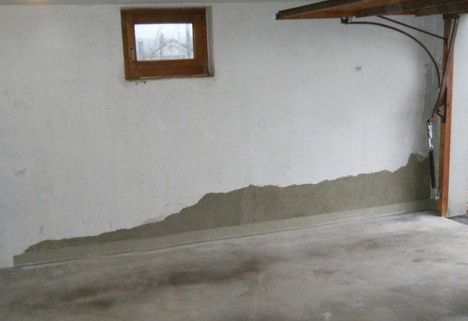 Abgedichtete Arbeitsfuge im Boden- / Wandanschluss