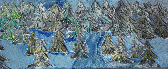 """Auf Gasbeton eingekratzes Motiv, """"Winterwald"""" mit Ölfarbe ausgearbeitet."""