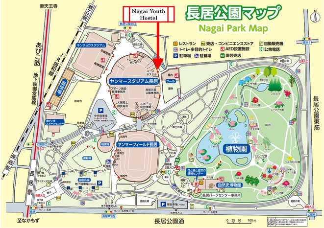 長居公園内地図 (画像をクリックすると大きく表示します)