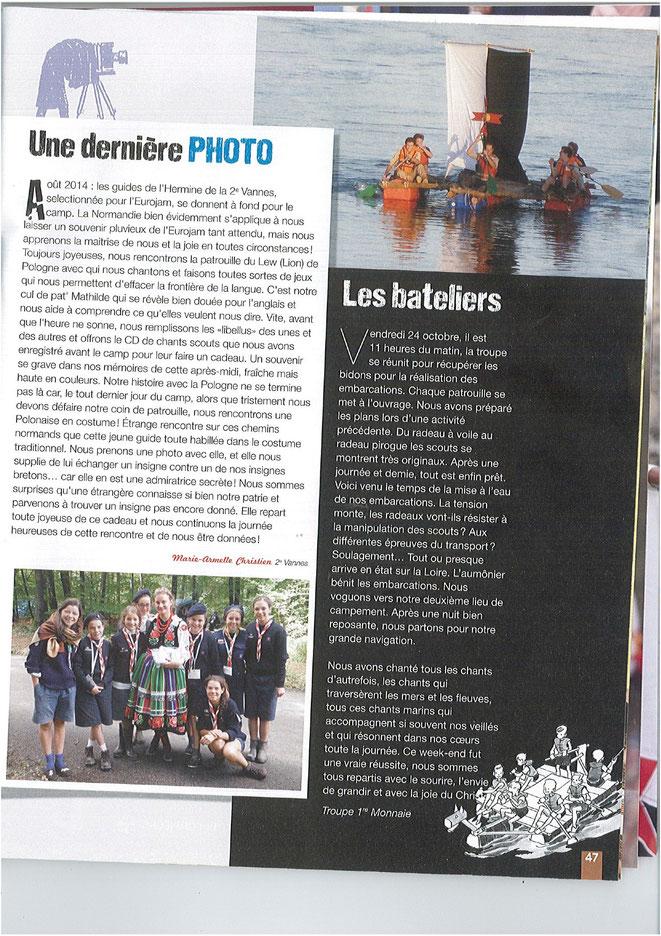 Revue Scout d'Europe de novembre-décembre 2014 n° 275 à la page 47