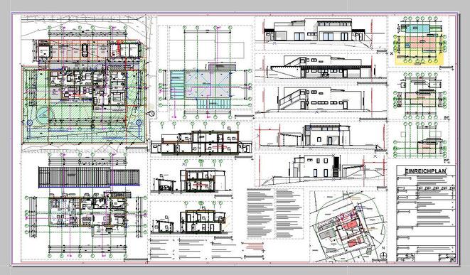 Einreichplan für ein Mehrfamilienwohnhaus