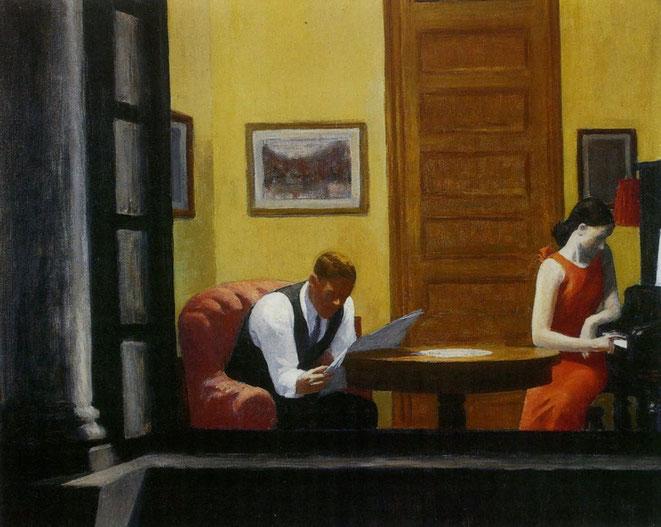 """Edward Hopper, """"Room in New York"""" (1932)"""