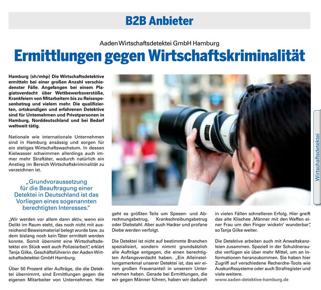 Aaden Detektei Hamburg im B2B-Nord-Magazin | Wirtschaftsdetektei Hamburg