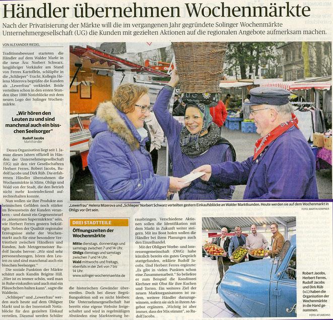 Bericht in der Solinger Morgenpost (Lokalausgabe der Rheinischen Post) von Alexander Riedel mit Fotos von Martin Kempner.