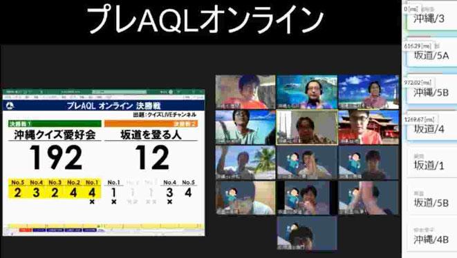 クイズLIVEチャンネルで放送された『プレAQLオンライン』の様子。北海道から沖縄まで離れた地域のメンバー同士が、リアルAQLに負けない名勝負を繰り広げました。