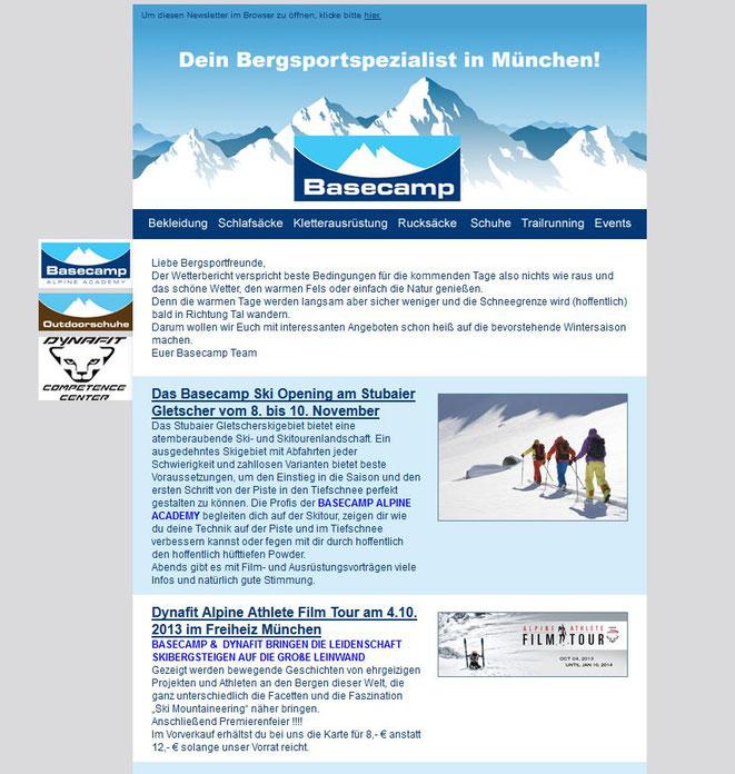 Newsletter Basecamp München von 2013 - 2014