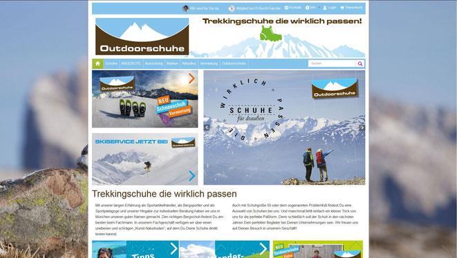 Outdoorschuhe München - Webshop realisiert mit Plentymarkets