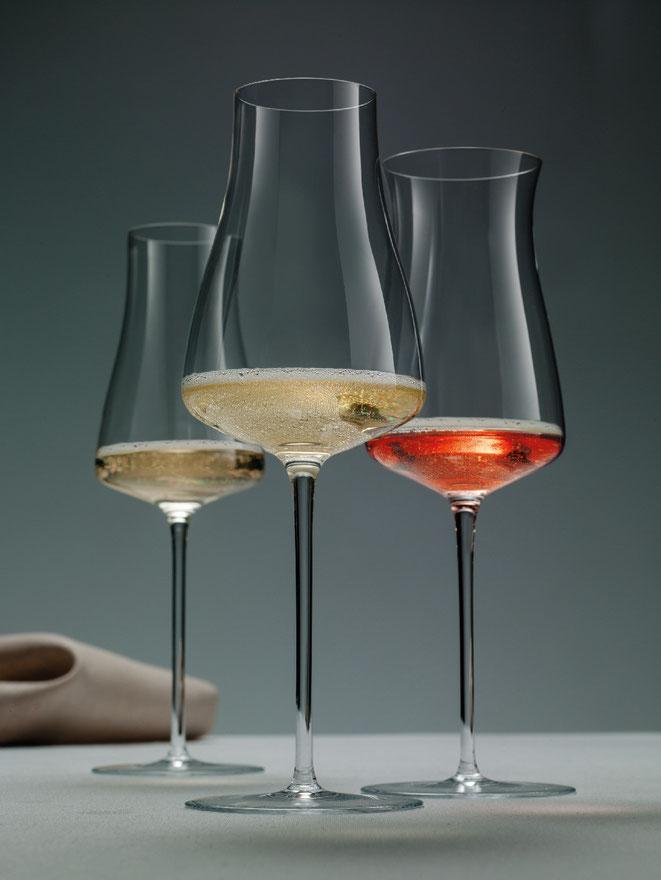 WINE CLASSICS von ZWIESEL 1872 v.l.n.r BLANC-DE-BLANCS Glas, ROSÉ CHAMPAGNER Glas, PRESTIGE CHAMPAGNER Glas ©ZWIESEL KRISTALLGLAS