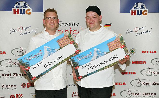 Die beiden Erstplatzierten Johannes Goll, Sous Chef, Restaurant Francais, Hotel Steigenberger Frankfurter Hof (Snack) und Eric Lehr, Chef Pâtissier, Vila Vita Hotel Rosenpark, Marburg (Dessert)