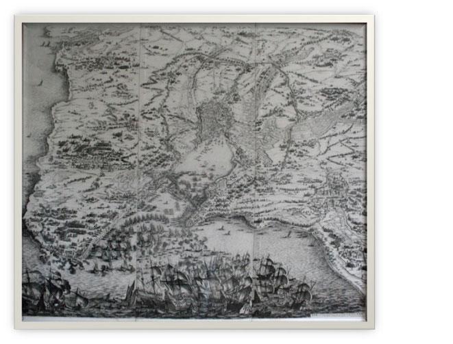 Siège de l'île de Ré, gravure eau-forte de Callot, 1628, coll. Château de Monbazillac