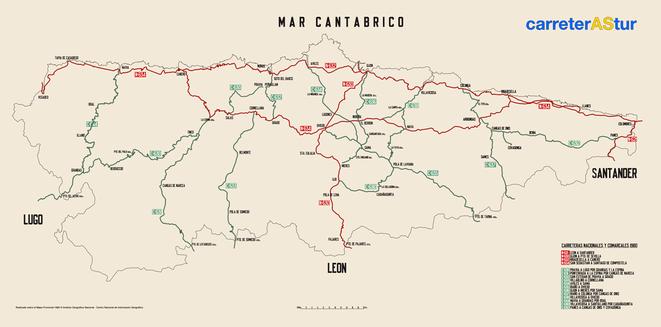 Mapa de Carreteras Comarcales y Nacionales en Asturias