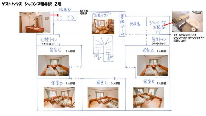 2階にはお部屋が5つございます。3人部屋が3つ、2人部屋が2つ。無料Wi-fi・冷暖房完備です。