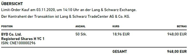 freaky finance, Trade Republic, Ausführung Kauf BYD