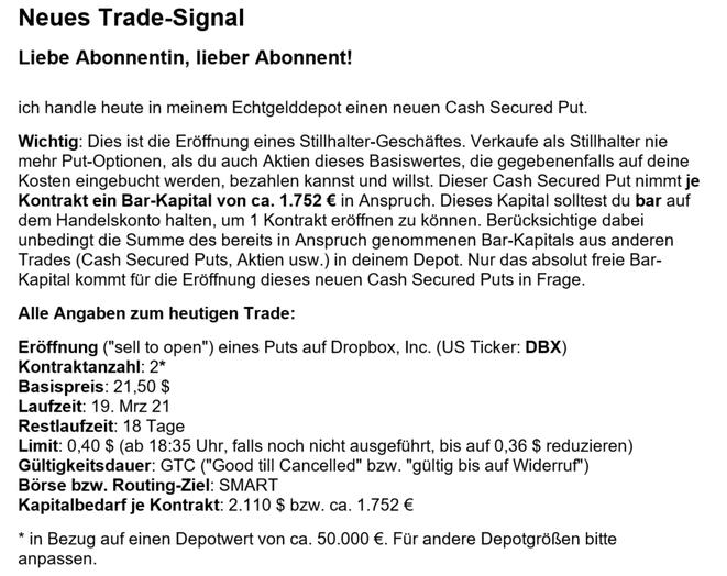 freaky finance, STILLHALTER-Brief, Cash Secured Put, Signal, Einstiegssignal, Trade-Signal