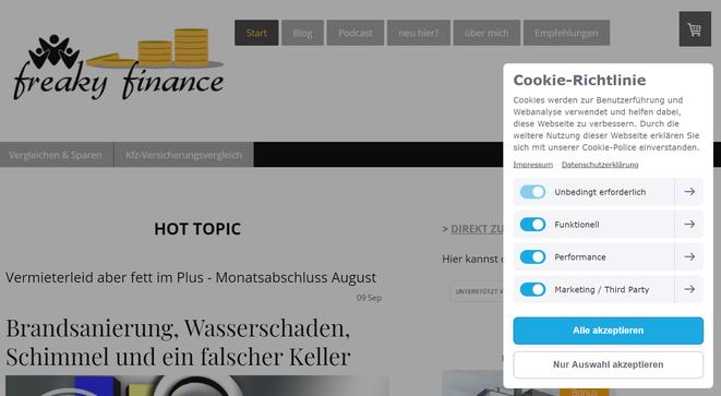 freaky finance, Cookie Richtlinie, Blog, Datenschutz