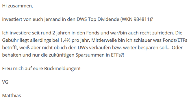 freaky finance, Finanzblogroll, Forum, Frage, DWS TOP DIvidende