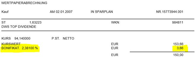 freaky finance, Wertpapierabrechnung, DWS TOP Dividende, Bonifikation