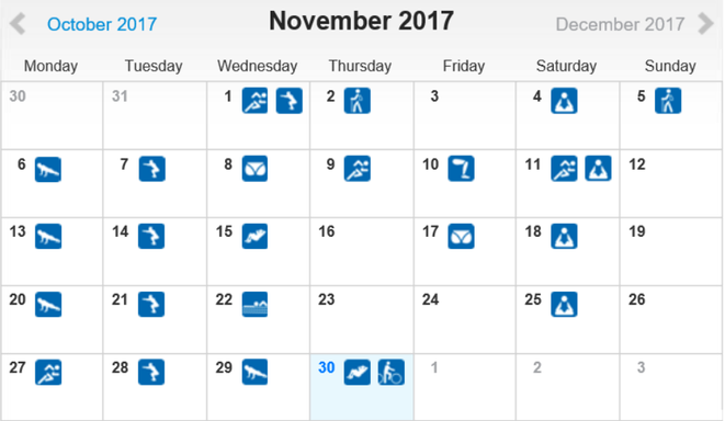 freaky routine, tägliche Übungen, Projekt 100, runtastic, Statistik Novembe 2017