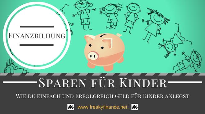 Sparen für Kinder - Wie du einfach und Erfolgreich Geld für Kinder anlegst- Kinder tanzen um das Sparschwein und freuen sich auf eine sorgenfreie Zukunft