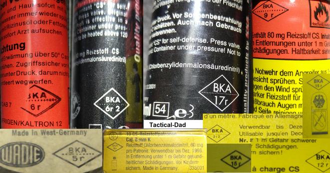 Die Hersteller der BKA Zulassungen von Reizstoffsprühgeräten und Gaskartuschen können mit der Liste oben entschlüsselt werden.