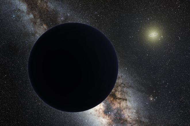 プラネット・ナインの想像図。画像右上が太陽。 その周囲にある環は海王星の公転軌道(プラネット・ナインwikiより)