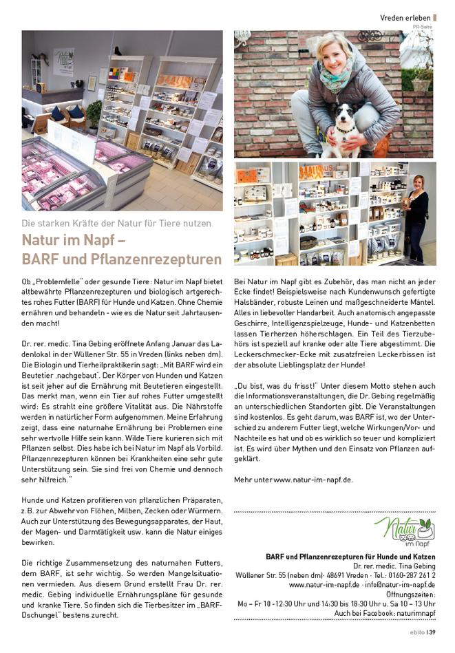 Ebito, Natur im Napf, Dr. Tina Gebing, Presse Münsterland, BARF Münsterland, BARF Vreden, BARF Stadtlohn, BARF Ahaus, BARF Heek, BARF Oeding, BARF Südlohn, BARF Borken