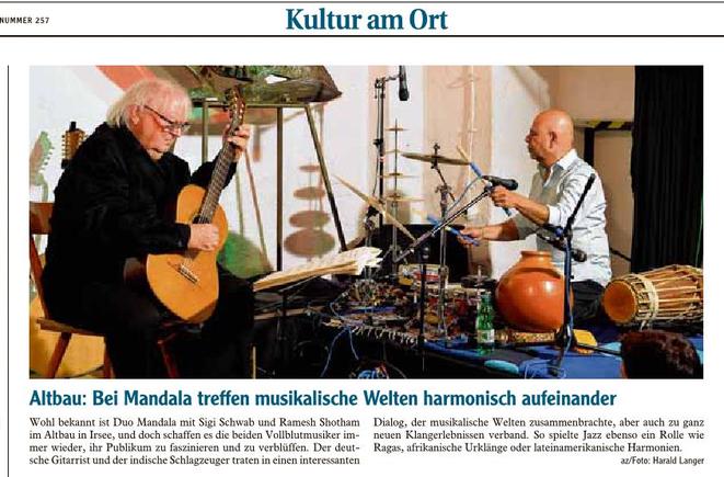 Mandala Kleinkunstverein-Altbau e.V. Altbau Irsee - Sigi Schwab&Ramesh Shotham