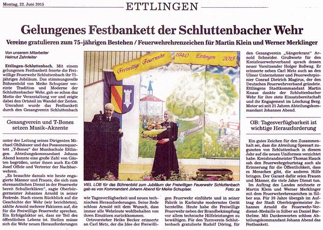 BNN 22.06.2015 - Gelungenes Festbankett der Schluttenbacher Wehr