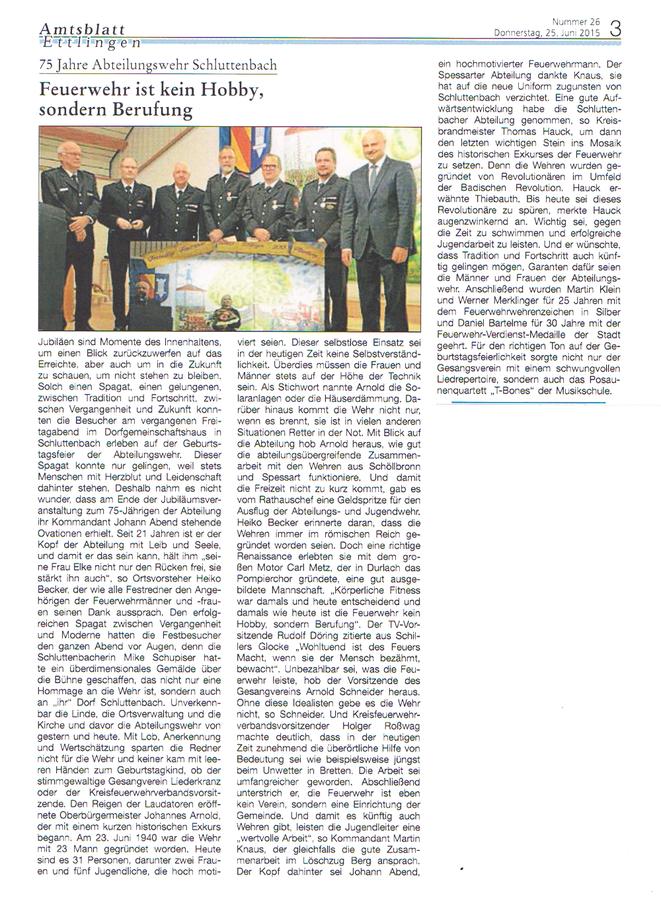 Amtsblatt Ettlingen, 25.06.2015 - 75 Jahre Abteilungswehr Schluttenbach