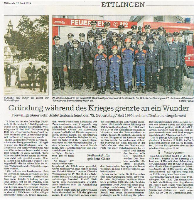 BNN Artikel 17.06.2015: Freiwillige Feuerwehr Schluttenbach feiert den 75. Geburtstag