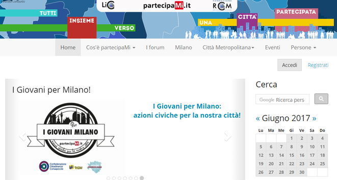 "Section ""I giovani per Milano"" dedicated to youth action on the PartecipaMi website. Credit: Irene Dominioni"