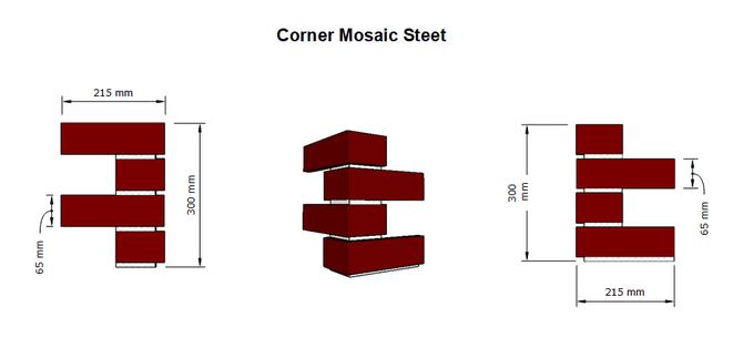 BrickMesh Corner Mosaic Sheet Dimensions