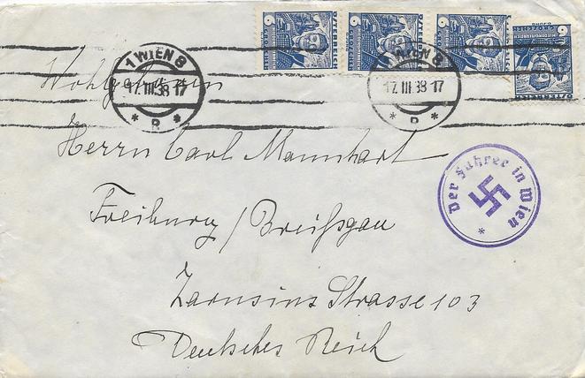 Brief mit korrigierten Volkstrachten-Marken