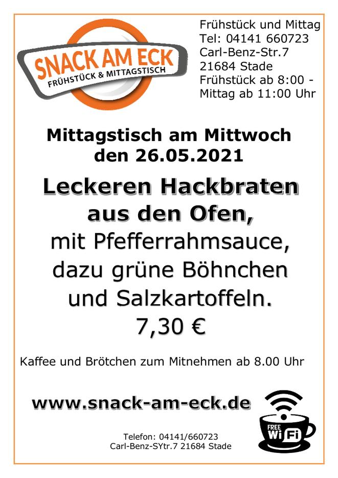 Mittagstisch am Mittwoch den 26.05.2021: Leckeren Hackbraten aus den Ofen mit Pfefferrahmsauce, dazu grüne Böhnchen und Salzkartoffeln. 7,30 €