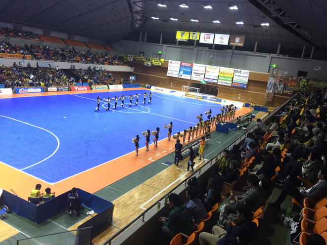 Half Time show of Futsal F-league Pescadola Machida vs Fuchu Athletic F.C. Tokyo Machida city cheerleading entertainment attraction sport futsal tourist spot machida municipal gymnasium