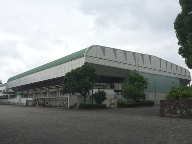 Outside appearance of Fuchu municipal gymnasium Tokyo Fuchu city Futsal F-League Tokyo Tama Derby attraction sport tourism promotion